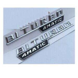 Cromo-Biturbo-4-Matic-Fender-letras-Emblemas-Insignias-Para-Mercedes-Benz-AMG