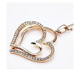 Magnifique-Collier-Pendentif-Coeurs-Plaque-or-Cristal-Transparent-Joaillerie