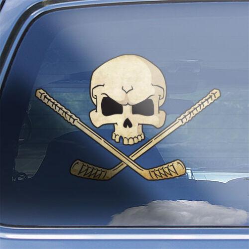Ice Hockey skull Crossbones Decal skull crossed ice hockey sticks vinyl sticker