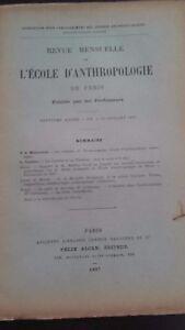 Rivista SCUOLA Antropologia 7 Eme Anni 1897 F.Alcan N° VII ABE