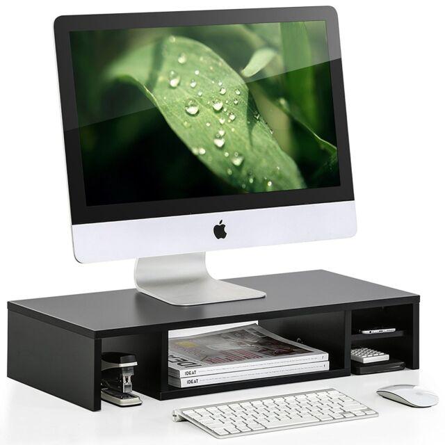 Wood Monitor Stand Laptop Riser Desktop Storage Tv Office Table Shelf