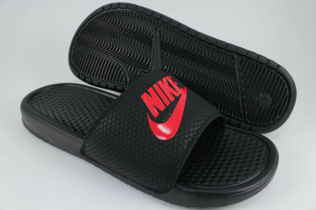 c48cde0bd2bef2 NIKE BENASSI JDI BLACK CHALLENGE RED SPORT SANDALS SLIDES SWOOSH US MENS  SIZES