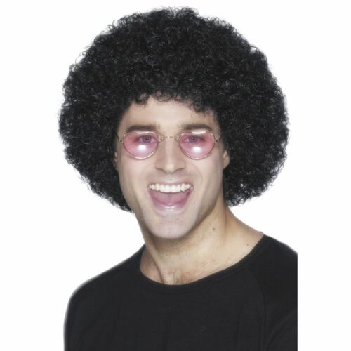 Adults 70s Groovy Disco Dude Black Budget Curly Afro Wig Fancy Dress Accessory
