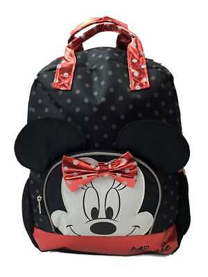 "Disney Minnie Mouse Black Backpack School All Print Book Bag Backpack 16/"""
