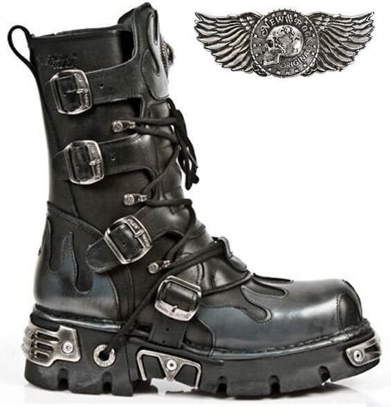 Newrock New Rock 591S2 Negro Metálico Plateado llama Goth Botas Bota De Cuero Biker