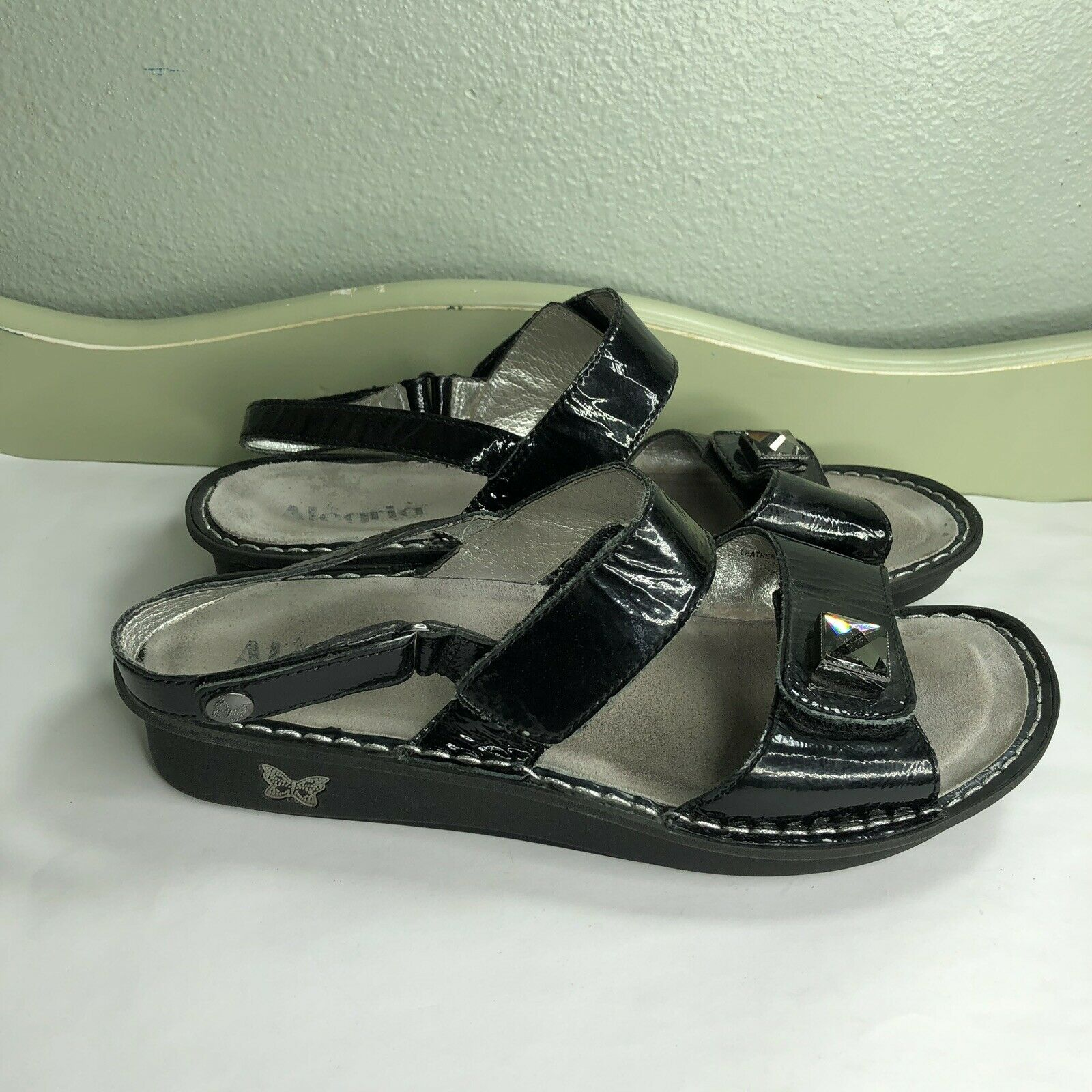 Alegria Sport Sandals Women Size 41 US 10 Black Patent Upper