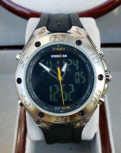 Timex-Men-s-T56381-Ironman-Triathlon-42-Lap-Combo-Dual-Tech-Sport-039-s-Watch-NICE