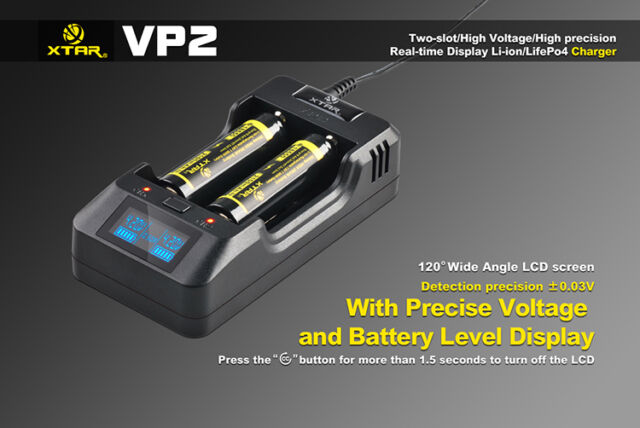 XTAR VP2 18650 16340 Premium LED Display Lithium Battery Charger