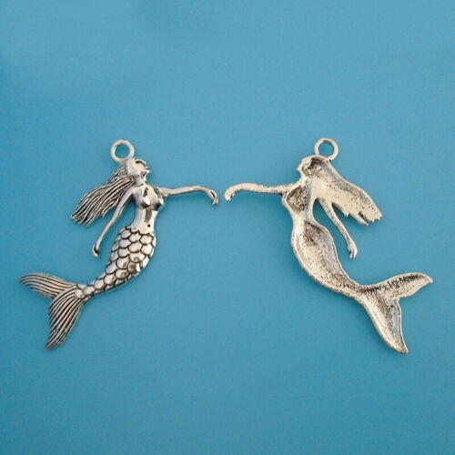 5Pcs Antique Silver Large Mermaid Charms Pendants for Necklace Jewelry Making