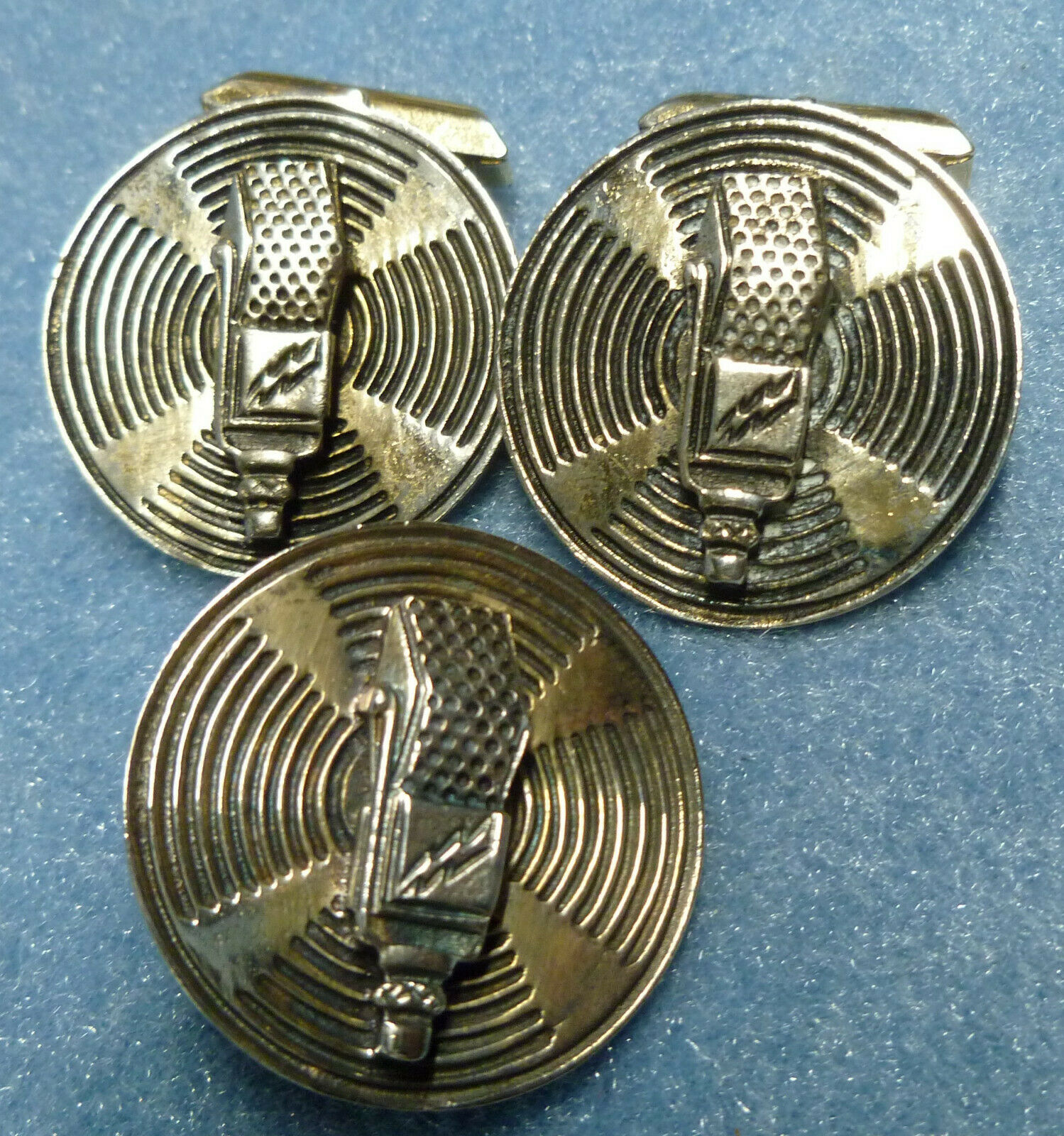 Vintage Radio/TV Microphone Broadcaster Cuff Link Tie Clip Set Sterling Silver. Buy it now for 150.00