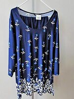 Slinky Brand Navy Blue 2 Pc Tunic Top/pants Set Plus Sz 2x-new With Tags