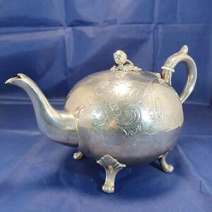 Thomas Otley Teapot Engraved Design Tea Pot Vintage Ornament Silver Plated