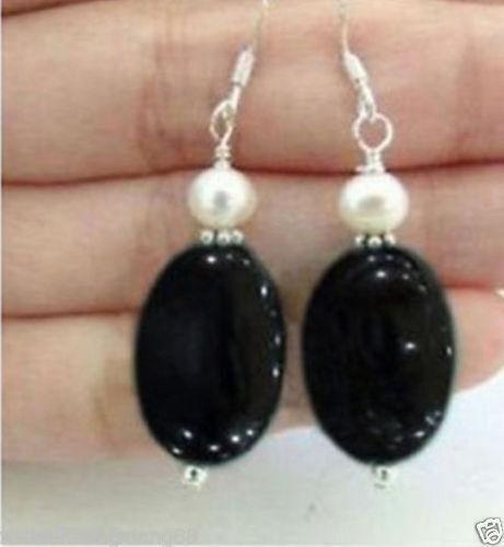 Naturel Noir Agate Onyx /& Real White Cultured Pearl Dangle Boucle d/'oreille argent crochet