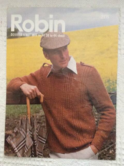 Vintage Long Sleeve Round Neck Patterned Sweater Knitting Pattern DK Robin 2815