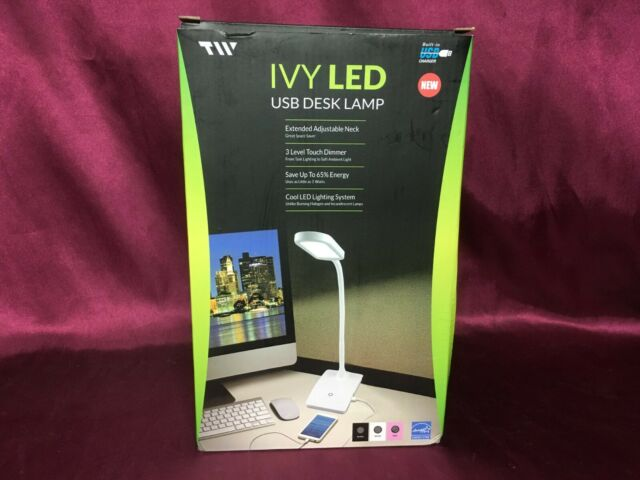 TW Lighting IVY-40WT The IVY LED Desk Lamp with USB Port New 3-Way Touch Swi..