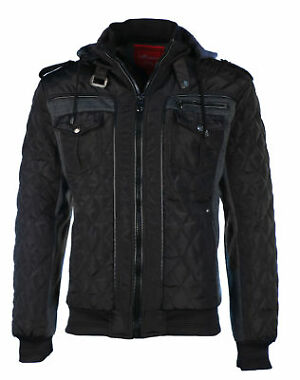 Mens Winter Coat Quilted Puffer Jacket Removable Hood