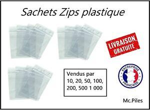 100 Pochettes Pochons Sachets Zip Format Horizontal 180 x 120 mm