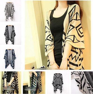 Women Oversized Batwing Sleeve Geometric Knit Cardigan Jumper Sweater Outwear ws