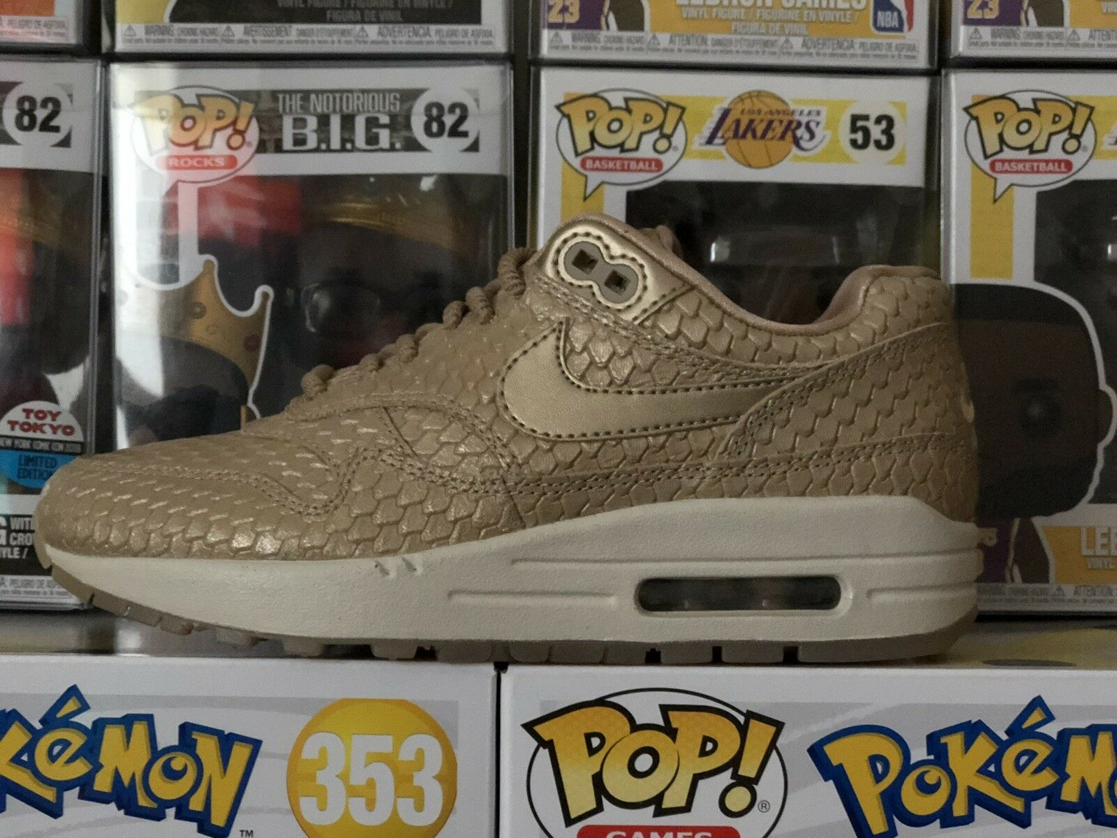 BRAND NEW NIKE AIR MAX 1 (454746-900) 7.5 'gold FISH' blueR blueR-LT OREWOOD BROWN