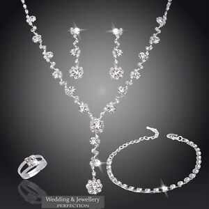 Image Is Loading Wedding Jewelry Set Bridal Jewellery Crystals Necklace Earring