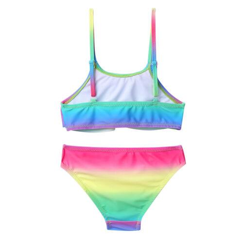 Kids Girls Bikini Swimwear Swimsuit Ruffled Tops Bottoms Bathing Suit Tankini