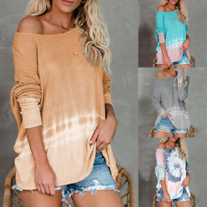 Womens-Tie-Dye-Off-Shoulder-Knitted-Long-Sleeve-Sweater-Casual-Loose-Pullover