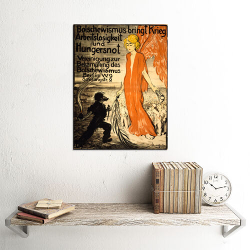 PROPAGANDA WAR WWI ANTI COMMUNIST BOLSHEVIK GERMANY ANGEL POSTER PRINT BB6967B