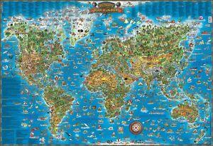 Details zu Poster Weltkarte für Kinder - Kinderweltkarte Querformat  137x97cm - NEU #100590