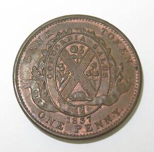 SUPERB-HIGH-GRADE-aUNC-1837-CANADA-CANADIAN-1-PENNY-BANK-TOKEN