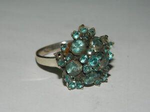 Bellissimo-Anello-vintage-lavorato-Argento-con-varie-pietre-acquamarina-OMA19