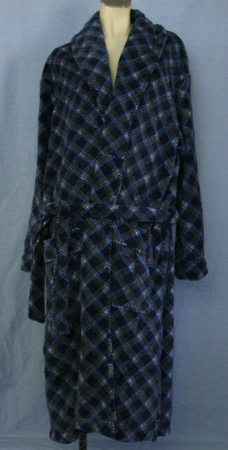 Men's Blue Soft Fleece Dressing Gown Bathrobe - Size M NWT