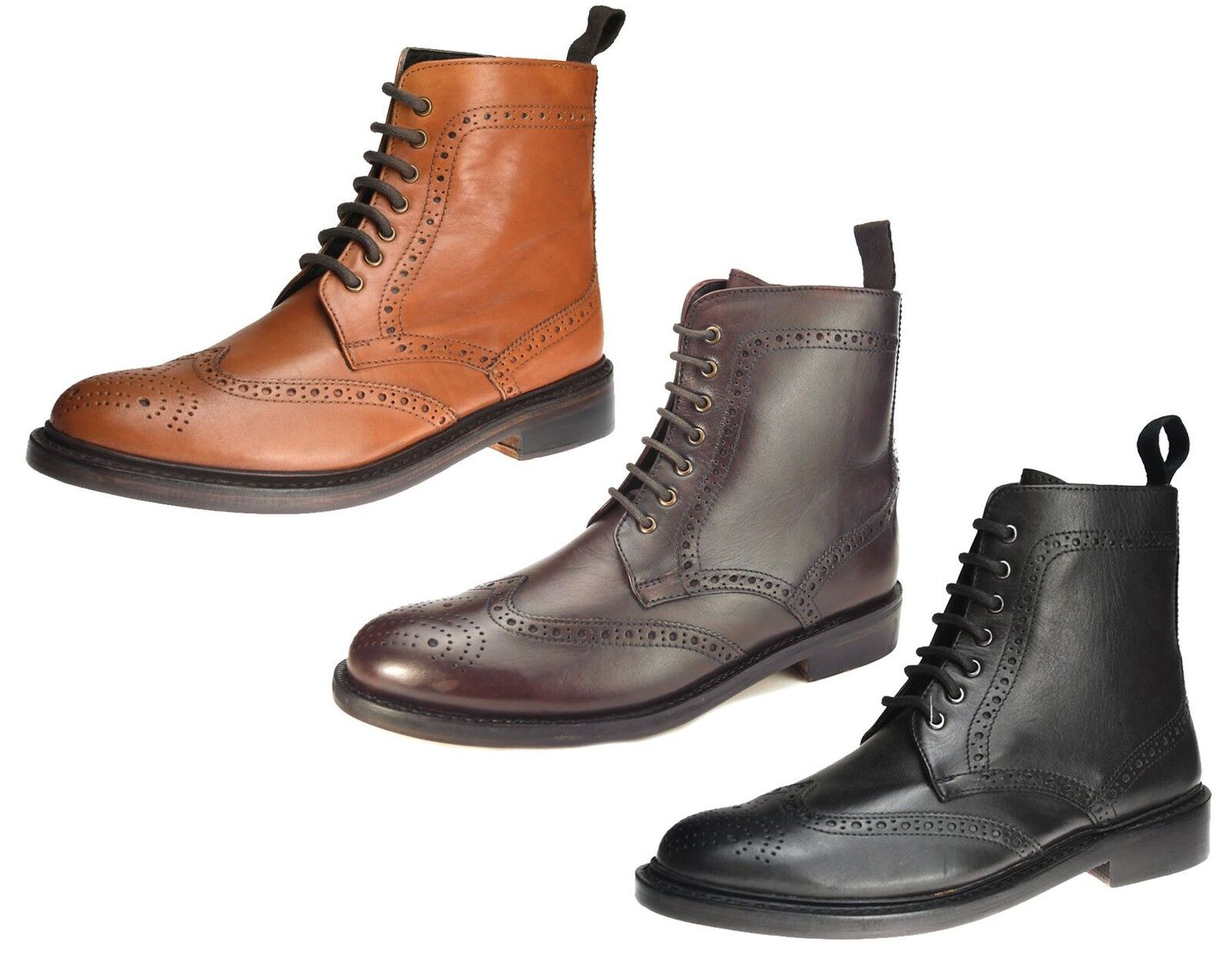 Benchgrade 1920 Mens Leather Welted Lace Up Brogue Dealer Boots 7 8 9 10 11 12