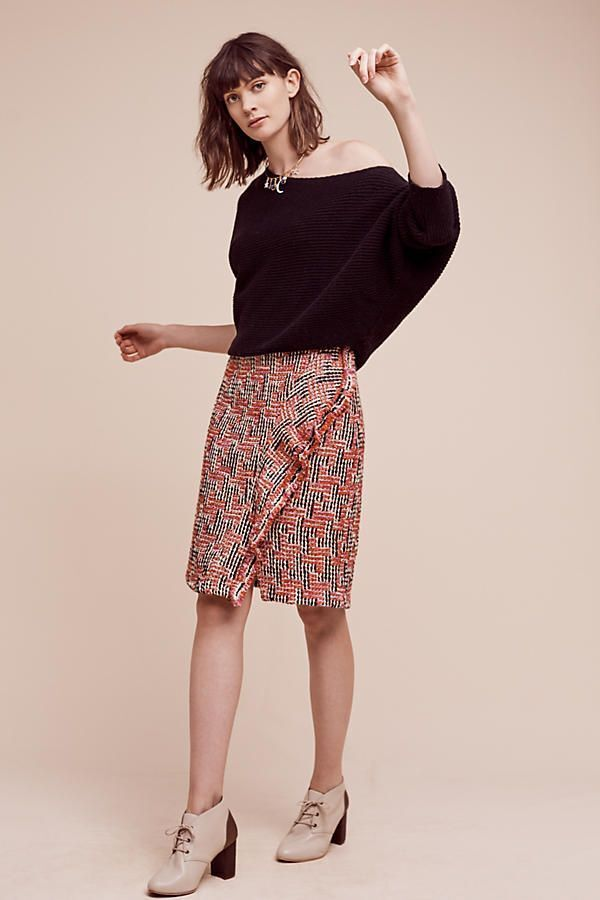Anthropologie Eva Franco Tweed Fringe Pencil Skirt size XS  148