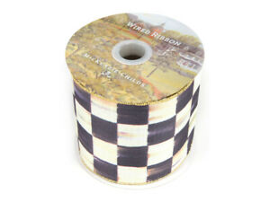 Mackenzie-Childs-COURTLY-CHECK-Spool-of-Wire-Ribbon-4-034-Wide-NEW-68-m19-2
