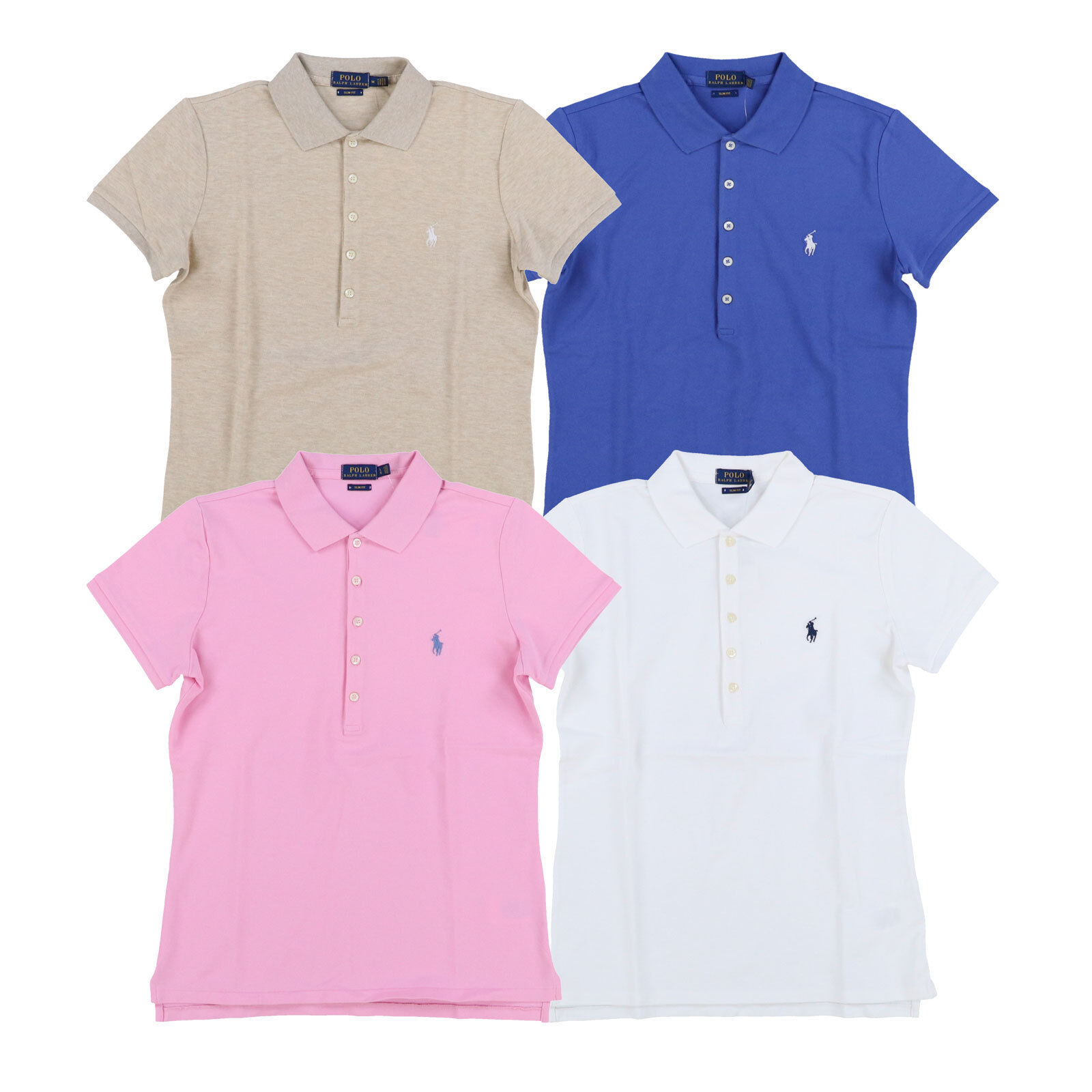 Polo Ralph Lauren damen Polo Shirt Slim Fit Stretch Mesh Collarot Xs S M L Xl