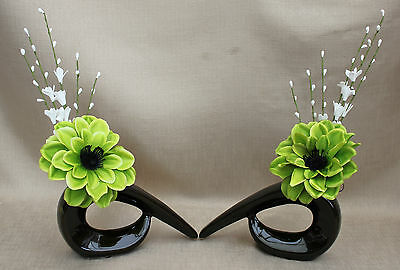 ARTIFICIAL SILK (SET OF 2) LIME GREEN DAHLIA FLOWER IN BROWN COMMA CERAMIC VASE