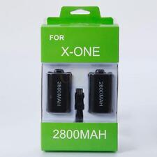 2pcs 2800mAh Battery Pack Kit for Xbox One Wireless Controller + USB Cable Black