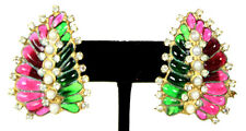 CHANEL 1960's Vintage Green & Ruby Gripoix Leaf Crystal & Pearl Earrings