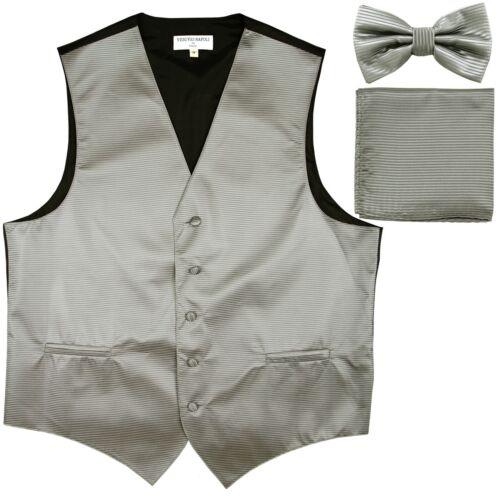 New men/'s tuxedo vest waistcoat /& bow tie set horizontal stripes formal silver