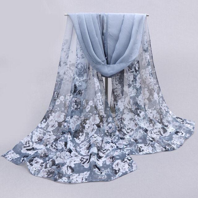 Women Lady Gray Chiffon Floral Long Soft Neck Scarf Shawl Stole Wraps Fashion