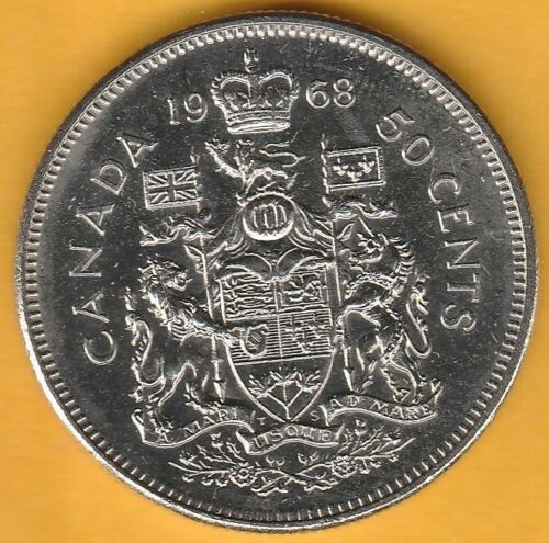 Coins Canadian Half Dollar 50c Fifty Cents. 1968 Canada 50 Cents Circulated XF