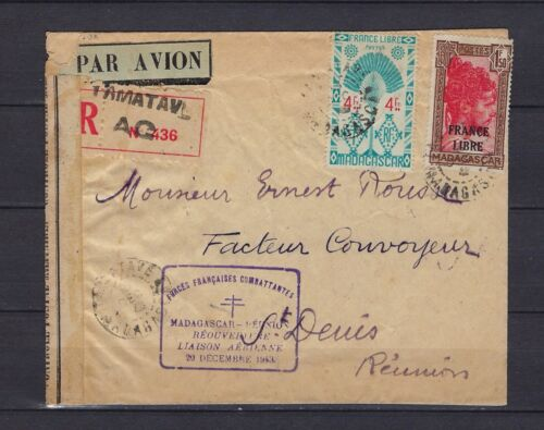 1943 Madagascar registered censored cover Tamatave to Reunion with great strikes