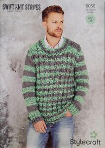 432c40d4a0a4ac Image is loading Stylecraft-Knitting-Pattern-9059-Mens-Swift-Stripes-Sweater -