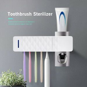 Toothbrush Holder Wall Mounted Toothpaste Dispenser with Sterilization Function