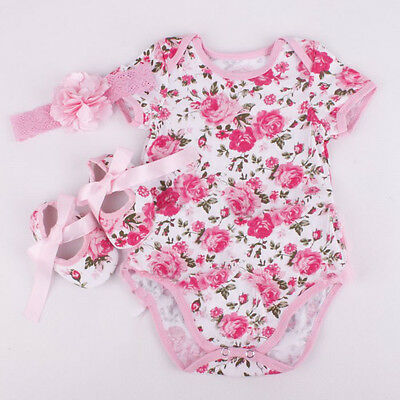 3pcs Newborn Kids Baby Girl Floral Romper Bodysuit headband Shoes Clothes
