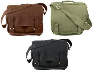 99f23fd74a Image is loading Rothco-Heavyweight-Canvas-European-School-Shoulder-Bag- Messenger-