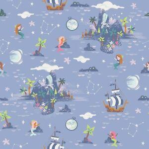 By-1-2-Yard-Riley-Blake-Neverland-Island-in-Purple-Peter-Pan-Mermaid-Fabric