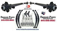 7k Tandem Trailer Axles Idler Set 62/47 5 Lug Hubs W/ All Hardware 5x4.5 Hubs