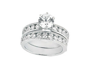 Natural 2.00Ct Round Cut Diamond Engagement Ring Set Solid 18k Gold F VS1