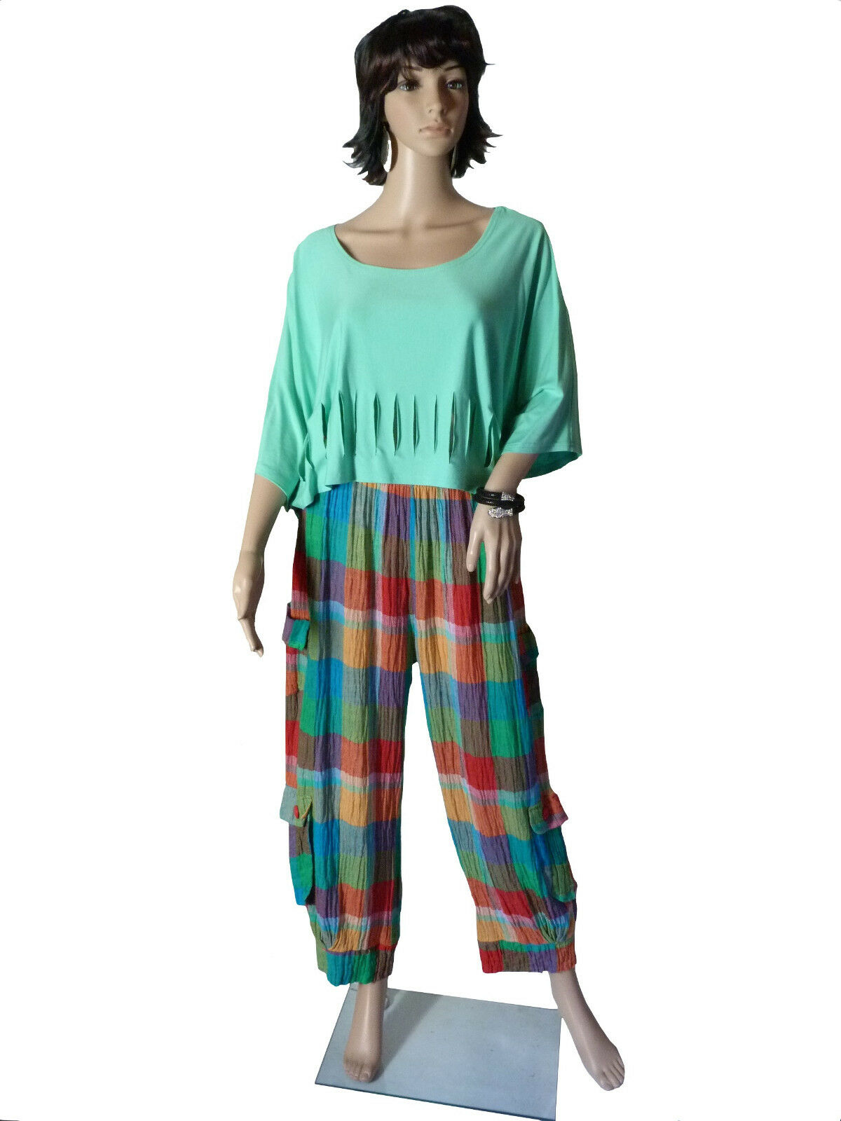 Größe XL 44 46 Super Cool Confortable Farbeé Pantalon Lin Motif à Carreaux Superposé